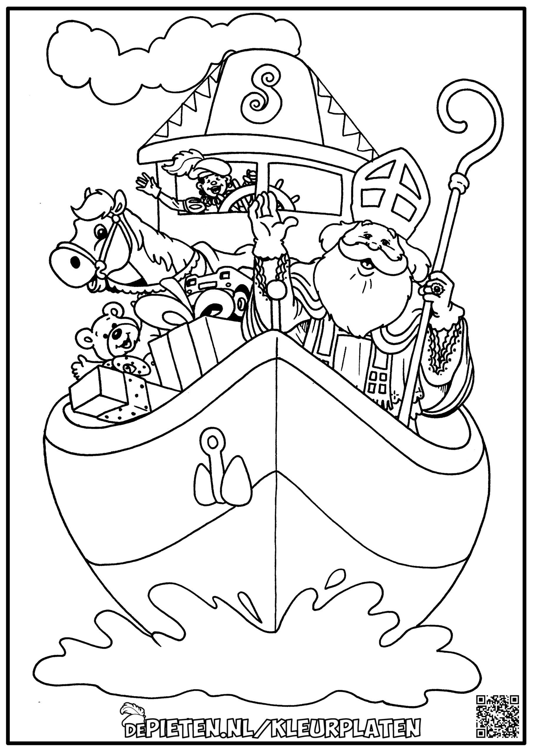 depieten.nl-Kleurplaten-kleuren-Sinterklaas-en-de-pieten-kleuren-Sint-en-piet-stoomboot-cadeautjes-boot-spanje
