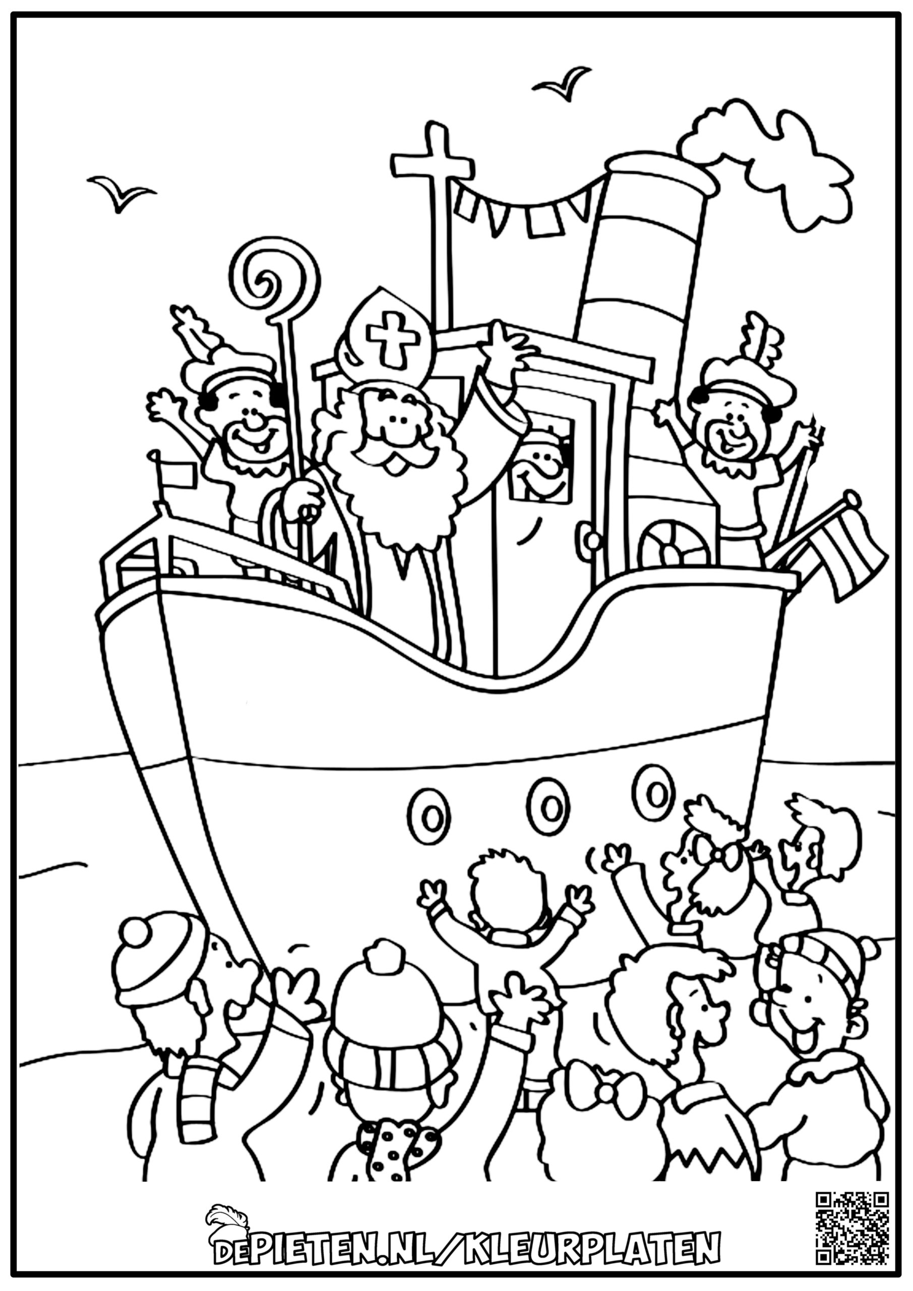 depieten.nl-Kleurplaten-kleuren-Sinterklaas-en-de-pieten-kleuren-Sint-en-piet-stoomboot-kinderen-zwaaien-boot-spanje