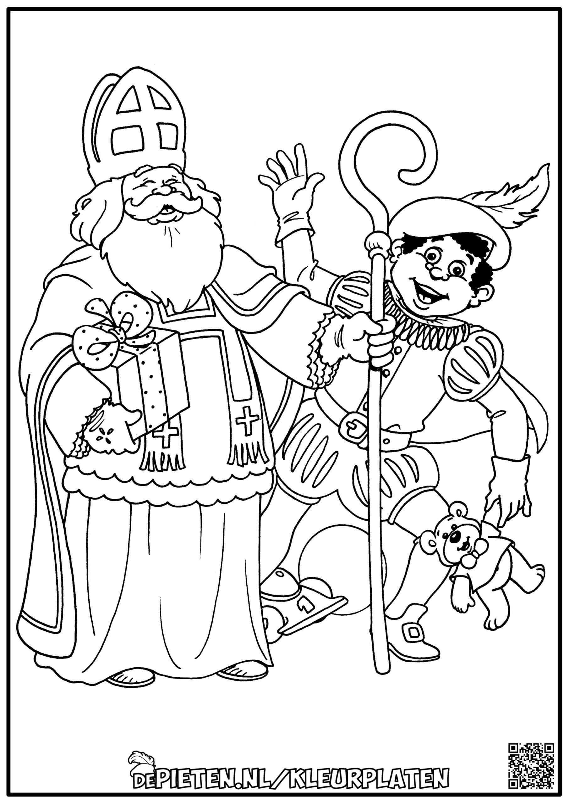 depieten.nl-Kleurplaten-kleuren-Sinterklaas-en-de-pieten-kleuren-Sint-en-piet-zwaaien-cadeaus-cadeautjes