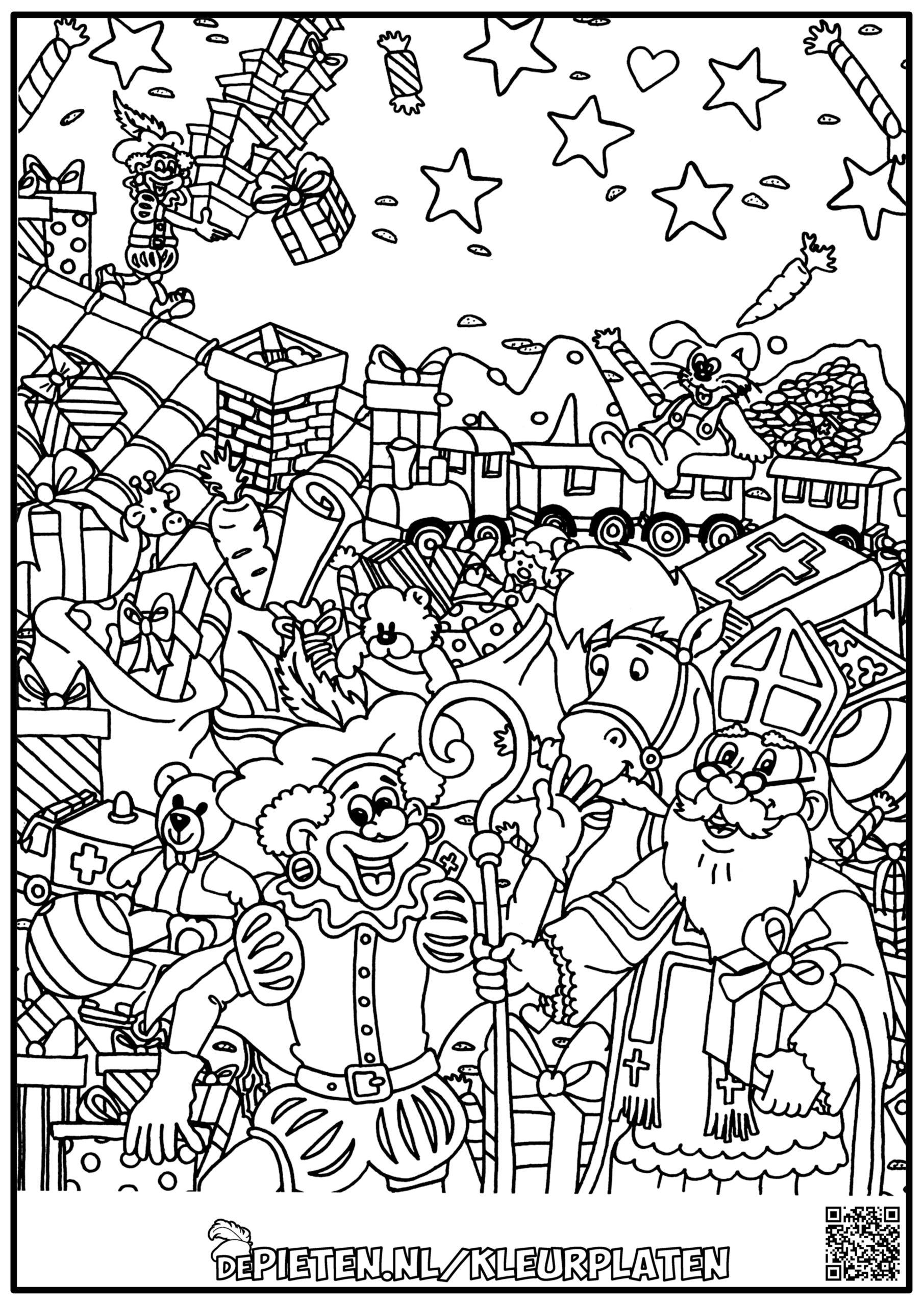 depieten.nl-Kleurplaten-kleuren-Sinterklaas-en-de-pieten-kleuren-voor-volwassenen-moeilijke-kleurplaat
