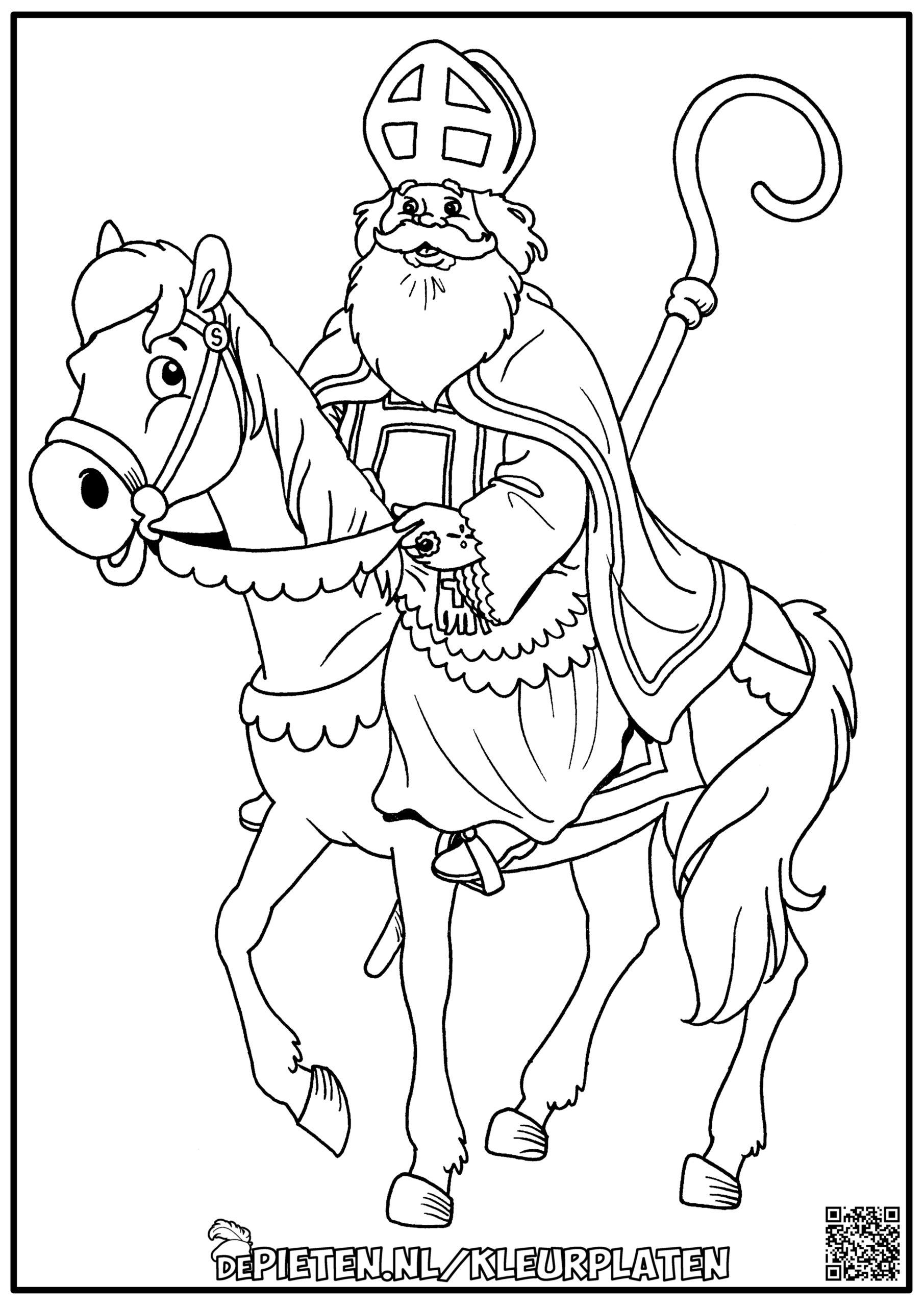 depieten.nl-Kleurplaten-kleuren-Sinterklaas-op-groot-paard-Sint-paard-Amerigo-kinderen-spelen-cadeautjes-snoepjes